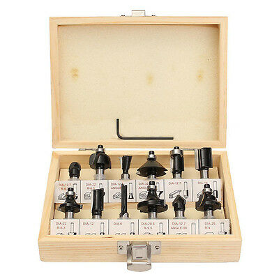 12 8mm Router Bit Set Shank Tungsten Carbide Milling Cutter Rotary Tool+Wood Box