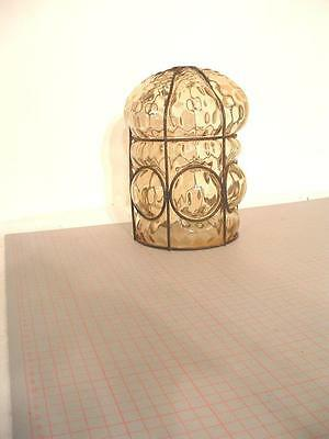 Vintage Murano glass caged pendant light shade. 21cm. high x 16cm. dia.