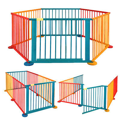 6 Panels Baby Playpen Activity Centre Wooden Play Pen Kids Playard Room Divider