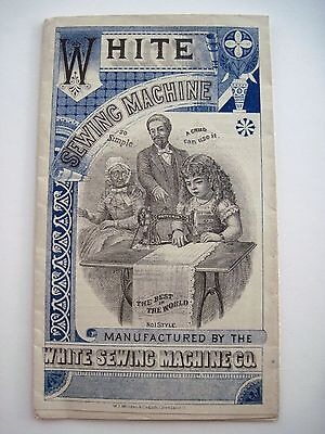 """""""RARE"""" Victorian Advertising Print for """"White Sewing Machine"""" w/ Girl Sewing*"""