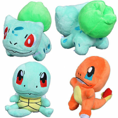 4pcs Pokemon Plush Toys Pikachu Bulbasaur Squirtle Charmander Action Toy Popular