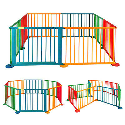8 Panels Baby Playpen Activity Centre Wooden Play Pen Kids Playard Room Divider