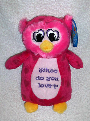 """HELP DONATE+ NEW RARE 10"""" PINK Who Do You Love? Plush Owl Valentines Gift"""