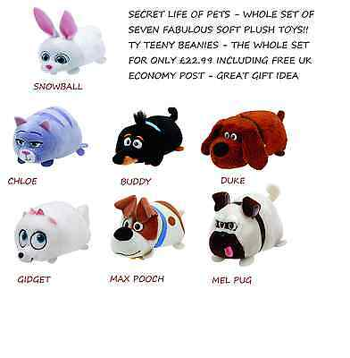 Secret Life Of Pets -  Whole Set Of 7 - Ty Teeny Beanie Babies Soft Plush Toys