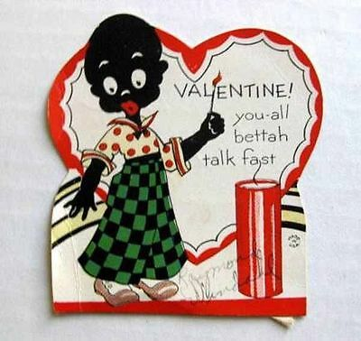 1936 Valentine's Day Card w/ Black Boy Lighting Firecracker