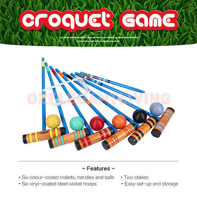 Lown Sports Croquet Wooden Outdoor Backyard Games Set-Up to 6 Players 6 Mallets