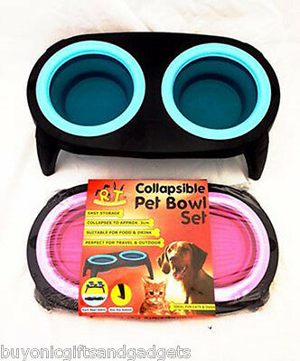 Collapsible Double Tough Raised Travel Bowl for Dog Pet Food Water Pink or Blue
