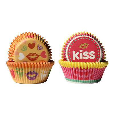 Hot 100pcs Yellow Lipstick&Pink Kiss Pattern Paper Cakecup Muffin Chocolate Cups