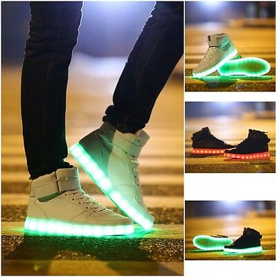 Unisex USB LED Lights Luminous Shoes sportswear  new  Lace Up Casual Sneaker new
