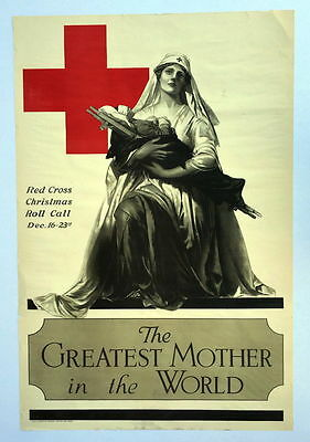 Authentic 1918 WWI Poster American Red Cross Nurse Greatest Mother in the World