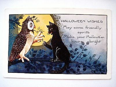 Friendly Vintage Halloween Postcard w/ Owl and Cat In Tree w/ Claws Wide Open *