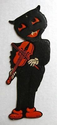 Rare 1940s Halloween Wall Decoration w/ Black Cat Playing a Fiddle HE Luhrs Co