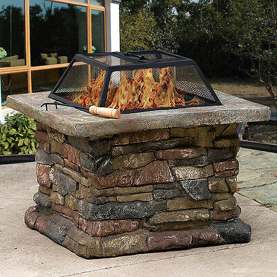 "29"" Garden Fire Pit Firepit Barbecue Square Stove Patio Heater Brazier Table"
