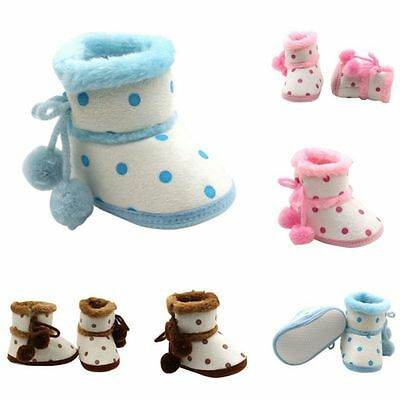 Baby Girls Newborn Winter Warm Plush Boots Toddler Infant Soft Sole Shoes 0-18M