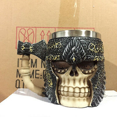 Viking Skull Tankard Mug Novelty Metal Antique Tankard Stein Mugs Coffe Tea Cups