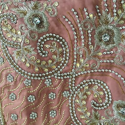 Heavy Embroidered Pink Saree