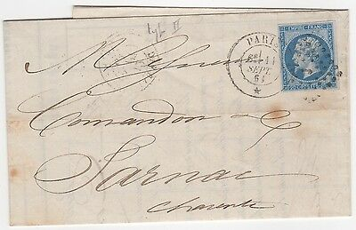 France 1861 Bank statement folded as cover, with franked stamp