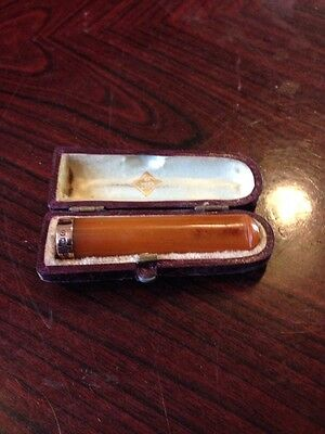 Stunning Amber And Gold Antique Charoot Holder In Case