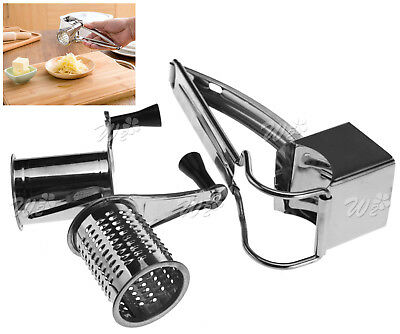 Cheese Grater Rotary 2 Drums Slicer Shred Kitchen Cooking Tool Stainless Steel