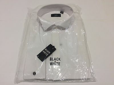 Mens White Tuxedo Wedding Dinner Formal Wing Plain Dress Shirts Multiple Sizes