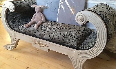 Large French Antique Upholstered Window Seat