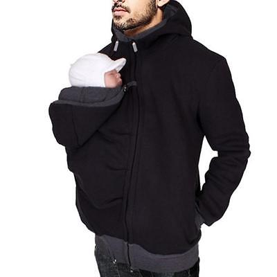 Fashion 3-In1 Kangaroo Sweatshirt Jacket Men's Dad and Baby Carrier Coat Hoodies