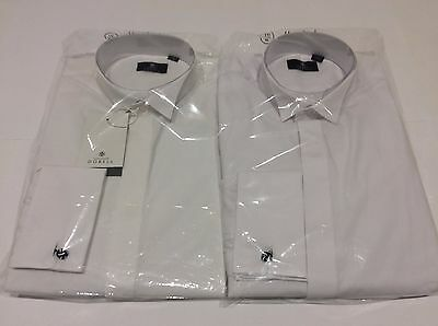 Mens White Dinner Wedding Formal Tuxedo Wing Plain Dress Shirts Multiple Sizes