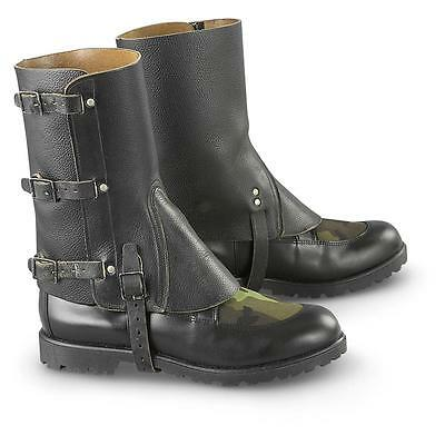 Swiss Army Black Leather Gaiters Hiking Riders Chopper - New