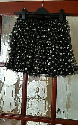 BNWOT YUMI Beautiful Quality Girls Black Glitter Star Skirt Tulle Net 9-10 Years