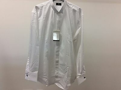 Mens White Wing Plain Tuxedo Dinner Wedding Formal Dress Shirt Size 15 1/2