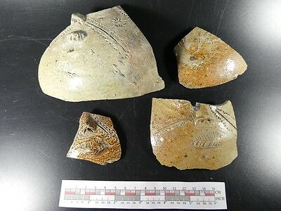 RARE Lot 4 pointed nose jug sherd early Bellarmine Bartmann sherds1475-1525 #6