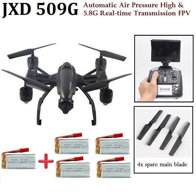 JXD 509G RC FPV Quadcopter Drone w / HD Camera 5.8G Altitude Hold 4 x Batteries