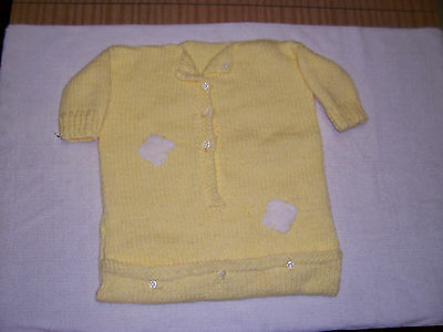 New Hand Knitted Baby Sleeping Bag Yellow 0 -3  Months Approx