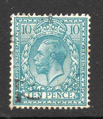 George V 1912-24 sg 394 - 10d turquoise blue with light pmk.