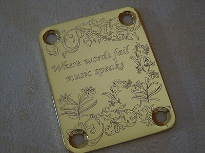 Gold Tone Guitar Neck Plate With New Design Lovely Item. Telecaster/stratocaster
