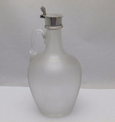 Antique 1892 Reeded Glass & Solid Silver Whisky Claret Jug Decanter (651-9-ENY)