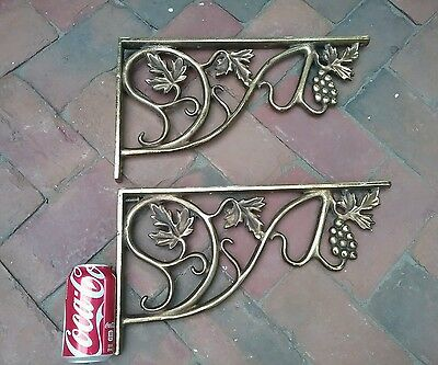 "EXCELLENT~HUGE GOLD HEAVY CAST~IRON Corbels ~ Brackets 16 X 9 ""RARE FIND UNUSUAL"