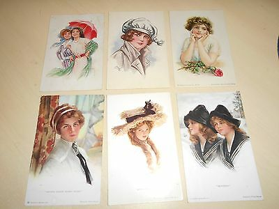 Lovely Collection Of 6 Early Artist Glamour Postcards (2)