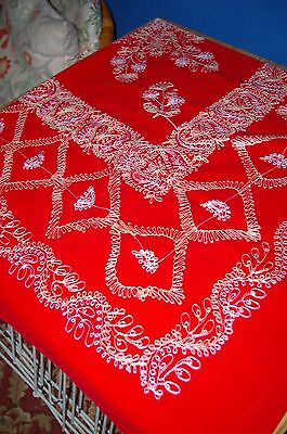 Red Embroidered Tablecloth And Serviettes