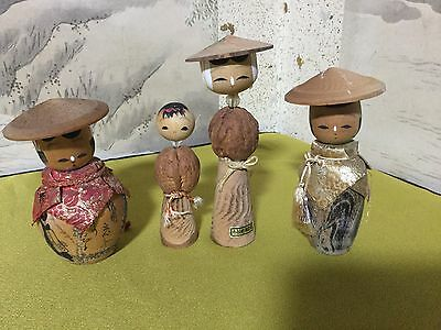 Japanese '70s KOKESHI (assort) with wooden hats
