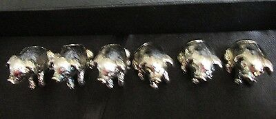 Set of Six Silver Plated Pig Place Settings or Menu Holders