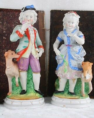 PAIR French Antique porcelain Bisque couple figurines with greyhound whippet