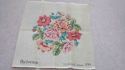 """vintage Victorian floral Penelope Printed Tapestry needlepoint Canvas 22"""""""