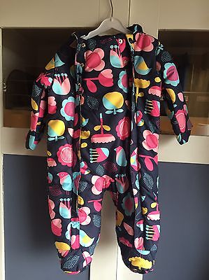 Girls M&s Padded Snowsuit 6-9 Months Ex Cond