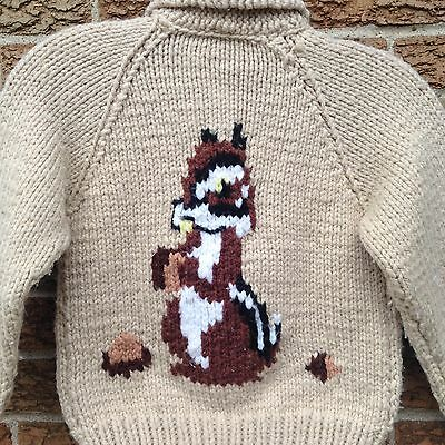 SQUIRREL! Classic COWICHAN Warm THICK WOOL Vtg SWEATER Kids Large -EUC- Cardigan