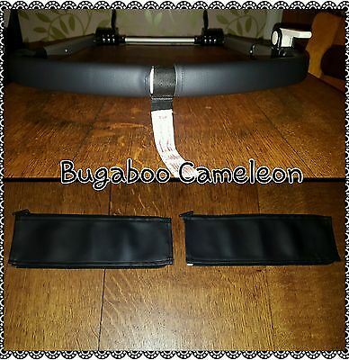 Bugaboo Cameleon 1 2 3 faux leather zip on handle bar covers in BLACK