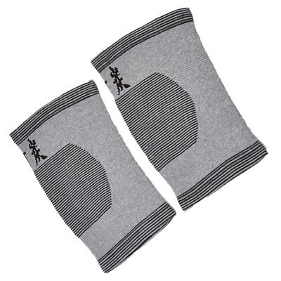 Outdoor Spandex Strips Printed Stretch Knee Support Protector Gray Black Pair
