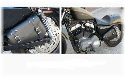 Sacoche triangle Cuir Sportster moto Custom Harley leather saddlebag Compact