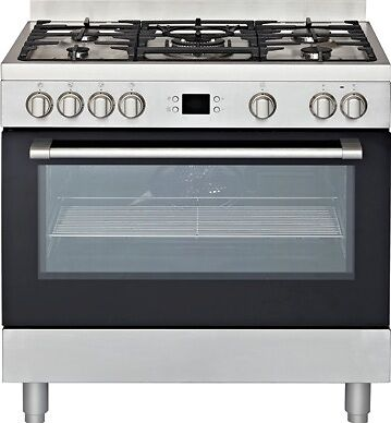 Carton Damaged Euromaid - 90cm Gas Cooktop Electric Oven Freestanding Stove, Sta