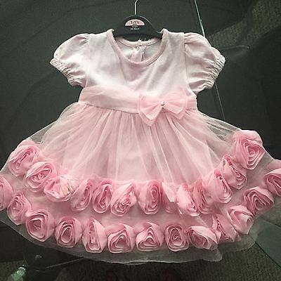 Stunning Baby Girl Pink Rose Dress Party Christmas 12-18 months